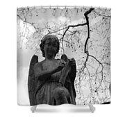 Reading Angel Shower Curtain by Jennifer Ancker