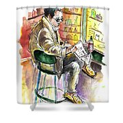 Reading El Pais And Drinking Rioja In Spain Shower Curtain