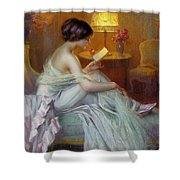 Reading In Lamp Light Shower Curtain