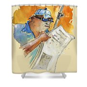 Reading The News 04 Shower Curtain