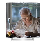 Reading The Sunday News Paper Shower Curtain