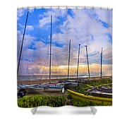 Ready For Sails Shower Curtain by Debra and Dave Vanderlaan