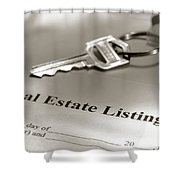Real Estate Listing And Hosue Keys Shower Curtain
