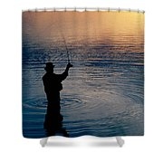 Rear View Of Fly-fisherman Silhouetted Shower Curtain