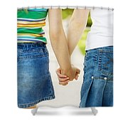 Rear View Of Girls Holding Hands Shower Curtain by Design Pics RF
