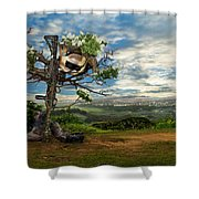 Rebirth Of A Fallen Soldiers Cross Shower Curtain