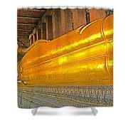 Reclining Buddha In Wat Po In Bangkok-thailand Shower Curtain