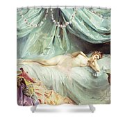 Reclining Nude In An Elegant Interior Shower Curtain by Madeleine Lemaire