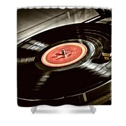 Record On Turntable Shower Curtain