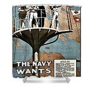 Recruiting Poster - Britain - Navy Wants Men Shower Curtain