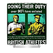 Recruiting Poster - Britain - Rugby Shower Curtain
