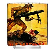 Recruiting Poster - Ww1 - Marines Over The Top Shower Curtain