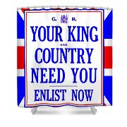Recruiting Poster - Britain - King And Country Shower Curtain