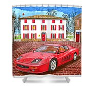 Enzo Ferrari S Garage With 1995 Ferrari 512m Shower Curtain