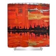 Red Amazon Sunset Shower Curtain