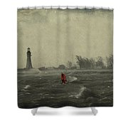 Red Among The Waves Shower Curtain