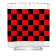 Red And Black Checkered Flag Shower Curtain