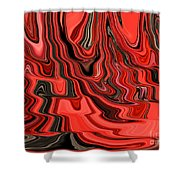 Red And Black Flowing Abstract Shower Curtain