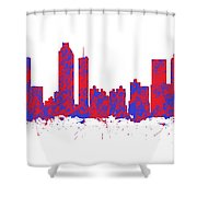 Red And Blue Art Print Of The Skyline Of Atlanta Georgia Usa Shower Curtain