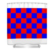 Red And Blue Checkered Flag Shower Curtain