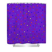 Red And Blue Polka Dots On Purple Fabric Background Shower Curtain