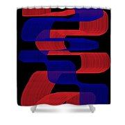 Red And Blue Ribbons Shower Curtain