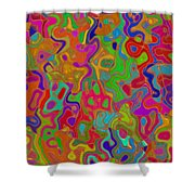 Red And Gold Abstract Shower Curtain