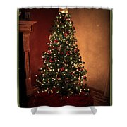 Red And Gold Christmas Tree With Caption Shower Curtain