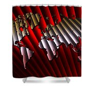 Red And Gold World Map Shower Curtain