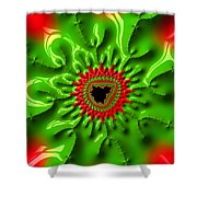 Red And Green Abstract Fractal Art Shower Curtain