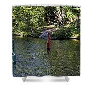 Red And Green Buoys Shower Curtain