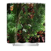 Red And Green Foliage Shower Curtain