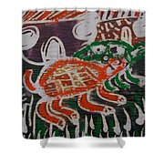 Red And Green Tortoise On Their Way To Bush Shower Curtain
