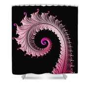 Red And Pink Fractal Spiral Shower Curtain