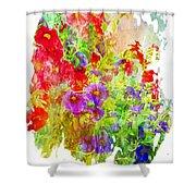 Red And Purple Calibrachoa - Digital Paint II Shower Curtain