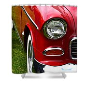Red And White 50's Chevy Shower Curtain