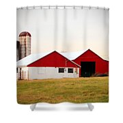 Red And White Barn Shower Curtain