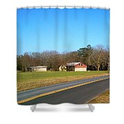 Red And White Barn With Trees Shower Curtain