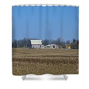 Red And White Barns Shower Curtain