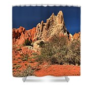Red And White Desert Towers Shower Curtain