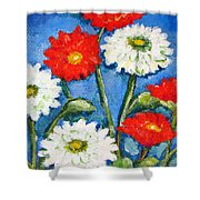 Red And White Flowers With A Blue Sky Shower Curtain