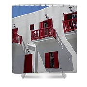 Red And White In Mykonos Shower Curtain