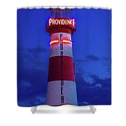 Red And White Lighthouse Shows Neon Shower Curtain