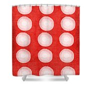 Red And White Shibori Circles Shower Curtain