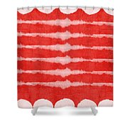 Red And White Shibori Design Shower Curtain by Linda Woods