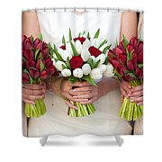Red And White Tulip And Rose Wedding Bouquets Shower Curtain