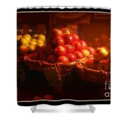 Red And Yellow Apples In Baskets Shower Curtain