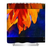 Red And Yellow Bloom In A Blue Paradise Shower Curtain