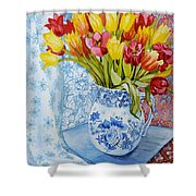 Red And Yellow Tulips In A Copeland Jug Shower Curtain by Joan Thewsey