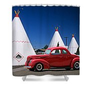 Red Antique Car Shower Curtain